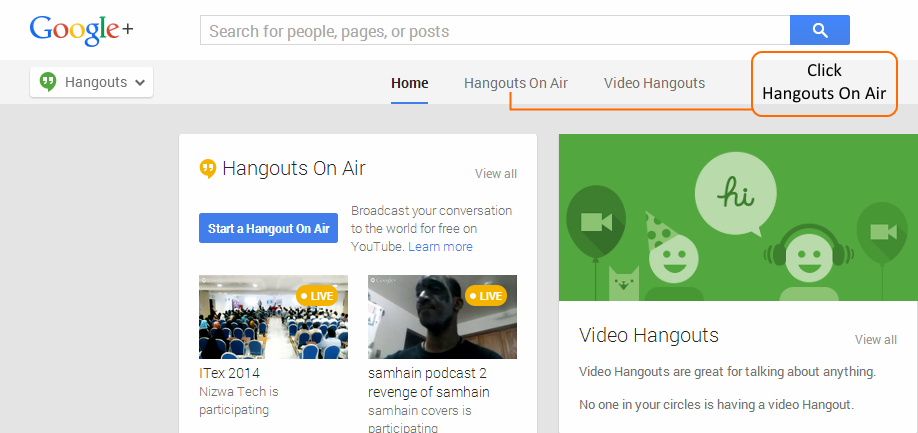 Google+ Hangouts Menu
