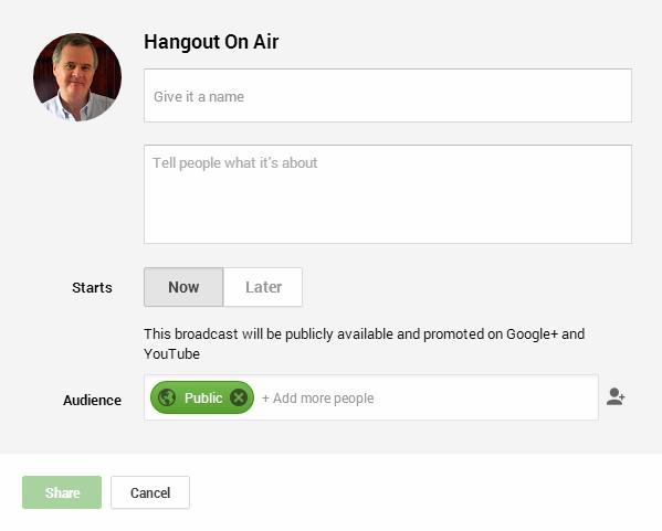 Hangout On Air dialogue box