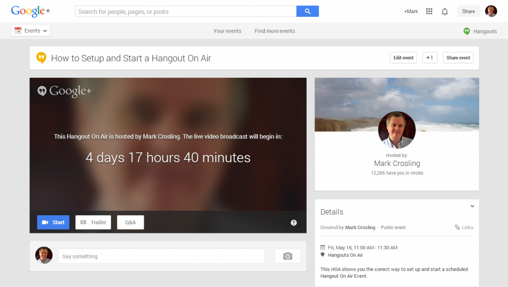 Hangout On Air Event countdown timer