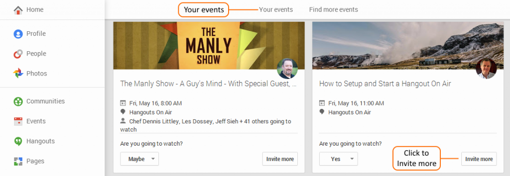 Google+ Events Page for your Events & Invite more