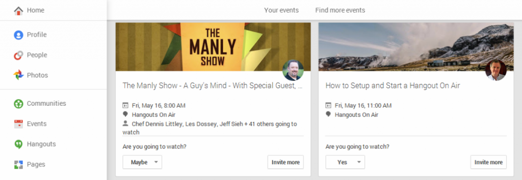 Google+ Events Page