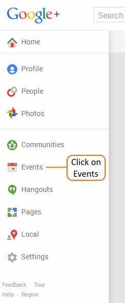 Google+ Main Menu showing Events