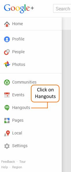 Google+ Main Menu showing Hangouts