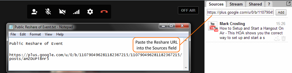 Paste the Reshare URL into the Sources field of Comment Tracker