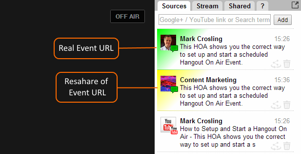 Real Event URL is Sources Field