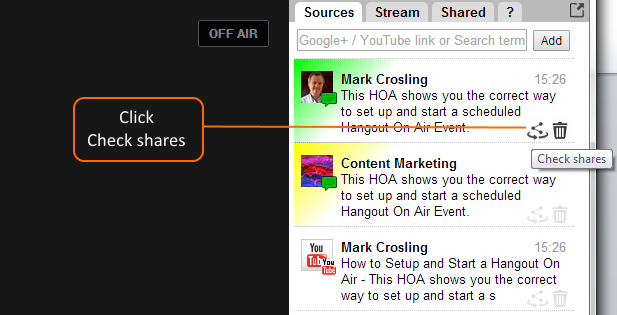 click on check shares to locate other reshares of main Event
