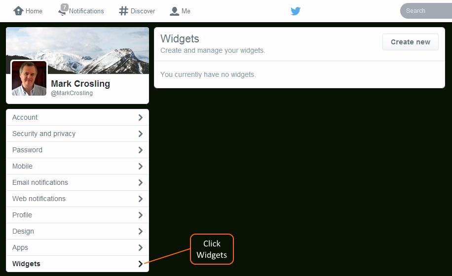 Click Widgets in Twitter Settings