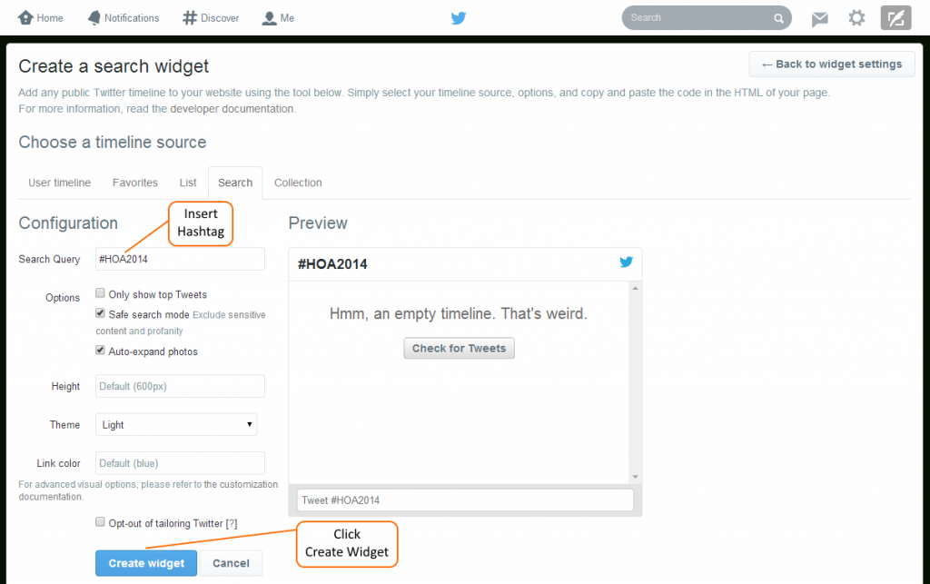 Insert Hashtag into Search Query and Create widget