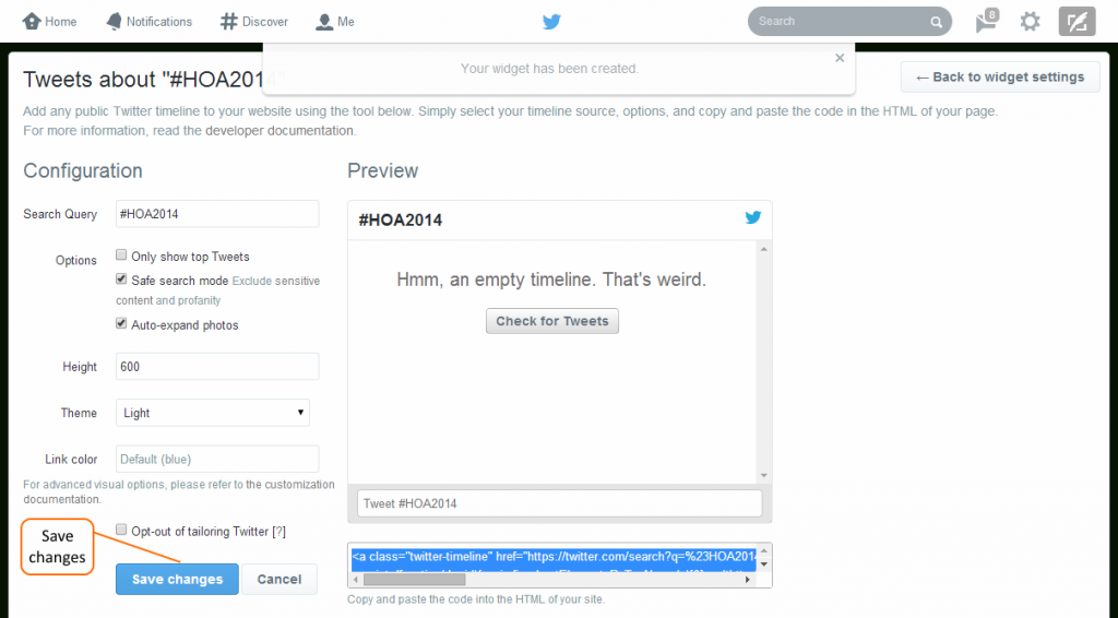 Save any changes to the Twitter widget