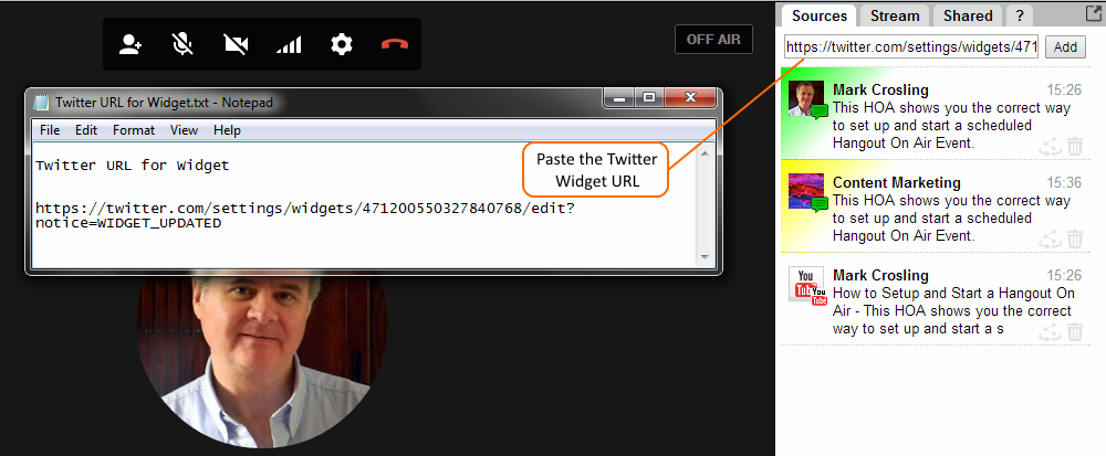 Twitter Widget URL pasted into Sources field of the Comment Tracker