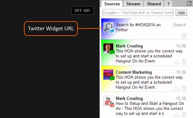 Twitter Widget URL Added to Twitter Sources