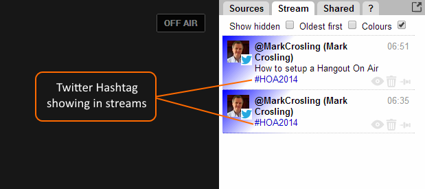 Stream showing Comments from Twitter