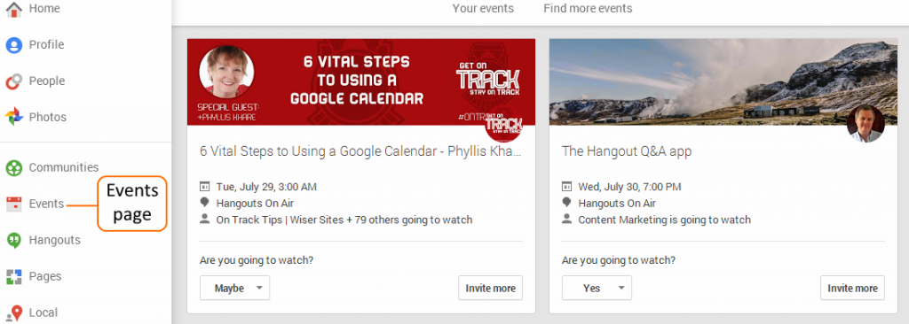 Hangout On Air Events page