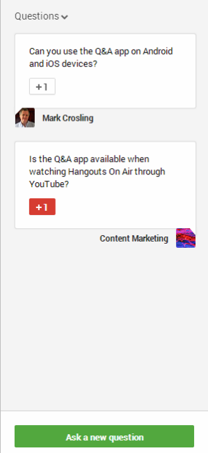 additional question in the Question Window of the Q&A app