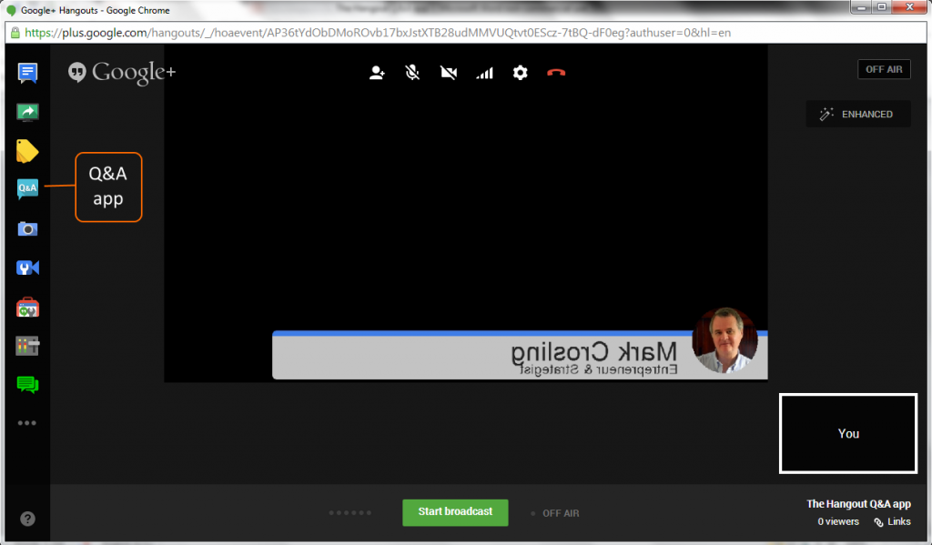 Inside the Hangout On Air Interface