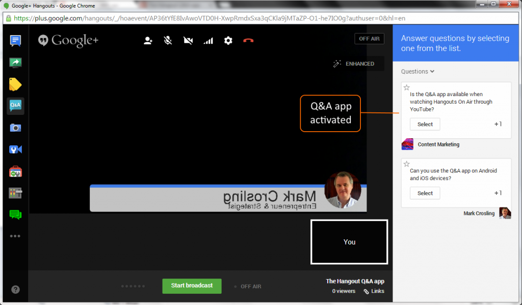 Inside the Hangout On Air Interface showing the Q&A app Question Panel
