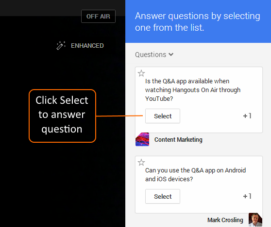 Click on Select to answer a question