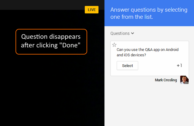 Clicking Done button removes the answered question from the screen