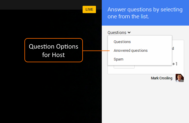 Question Filter for the Host