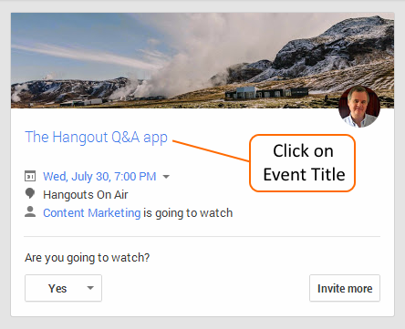Click on HOA Event Title