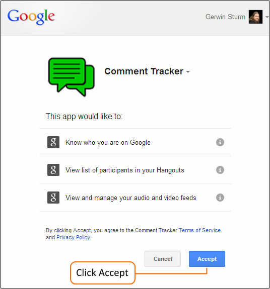 Accept Terms and Conditions of Comment Tracker