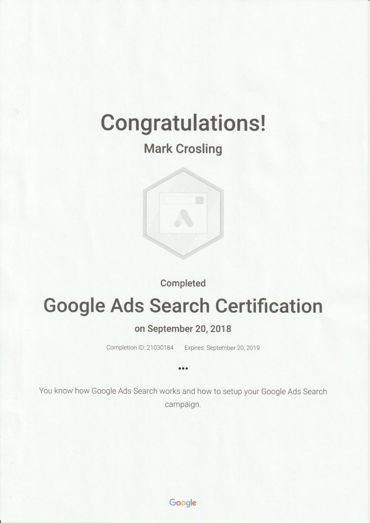 Google Ads Certification AdWords - Mark Crosling