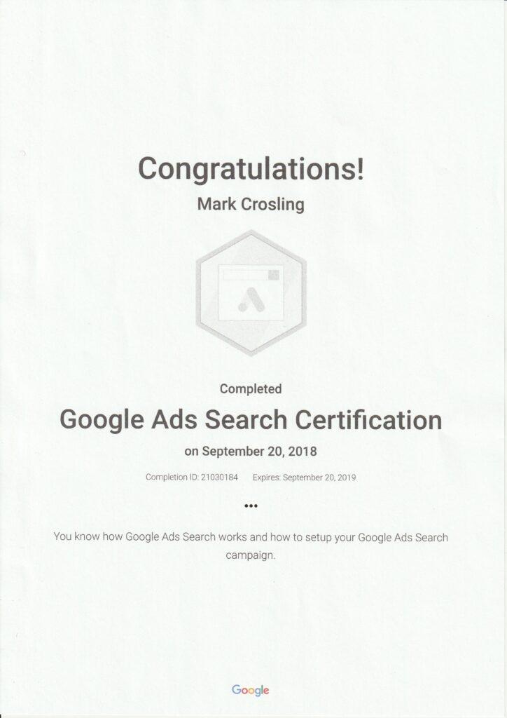 Google Ads Certification AdWords - Mark Crosling