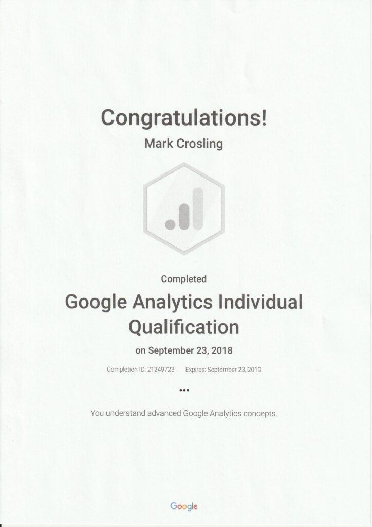 Google Analytics Certification - Mark Crosling